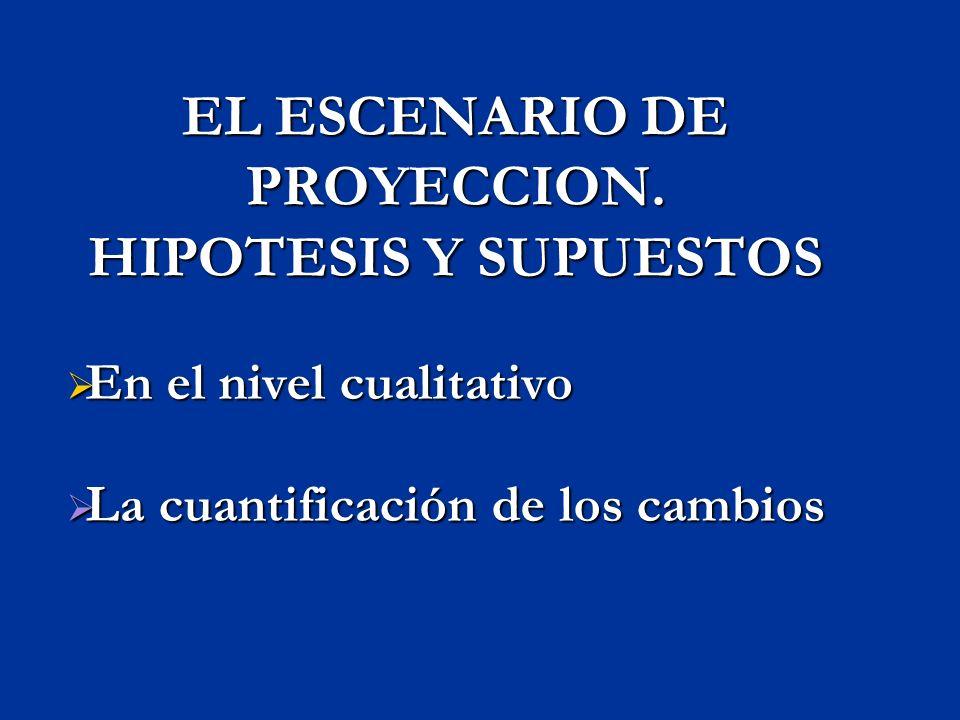 EL ESCENARIO DE PROYECCION. HIPOTESIS Y SUPUESTOS