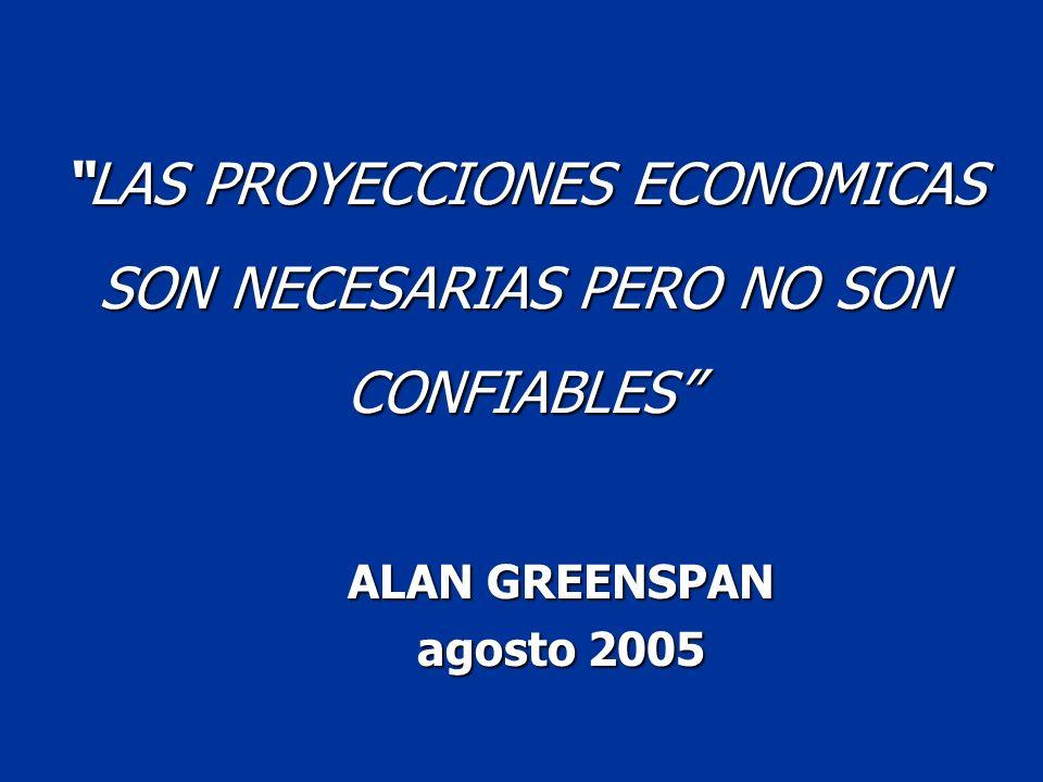 LAS PROYECCIONES ECONOMICAS SON NECESARIAS PERO NO SON CONFIABLES