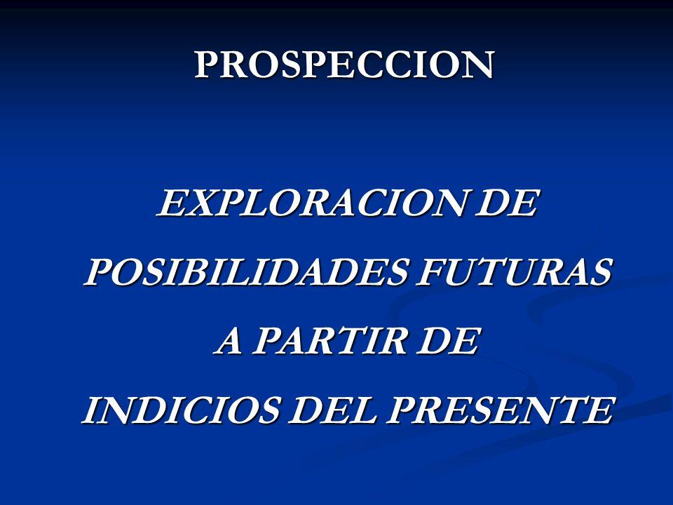PROSPECCION EXPLORACION DE POSIBILIDADES FUTURAS A PARTIR DE INDICIOS DEL PRESENTE