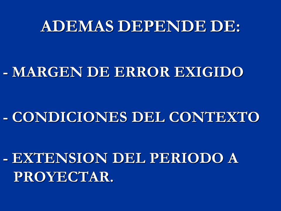 ADEMAS DEPENDE DE: - MARGEN DE ERROR EXIGIDO
