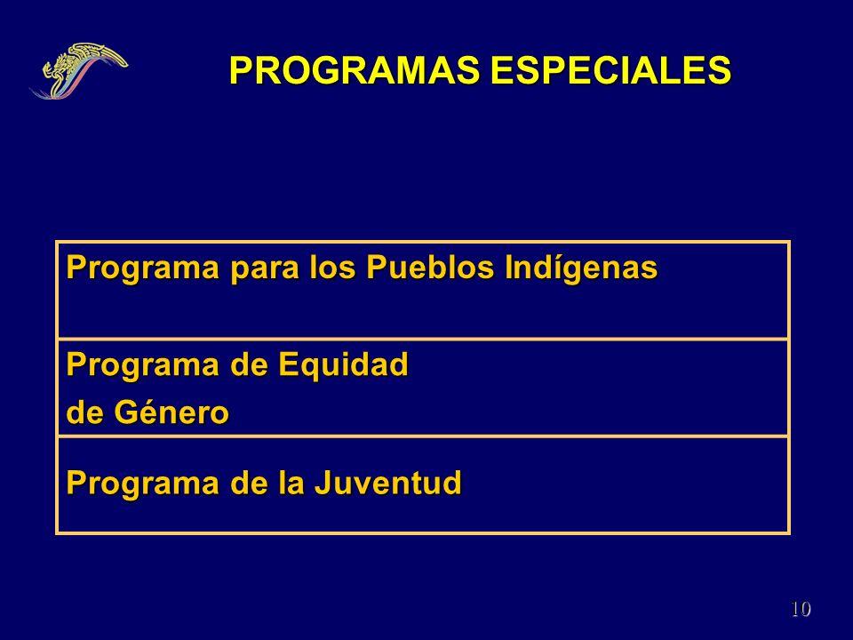 PROGRAMAS ESPECIALES Programa para los Pueblos Indígenas