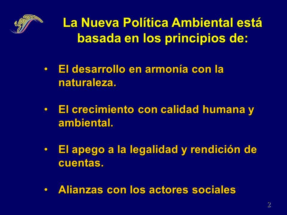 La Nueva Política Ambiental está basada en los principios de: