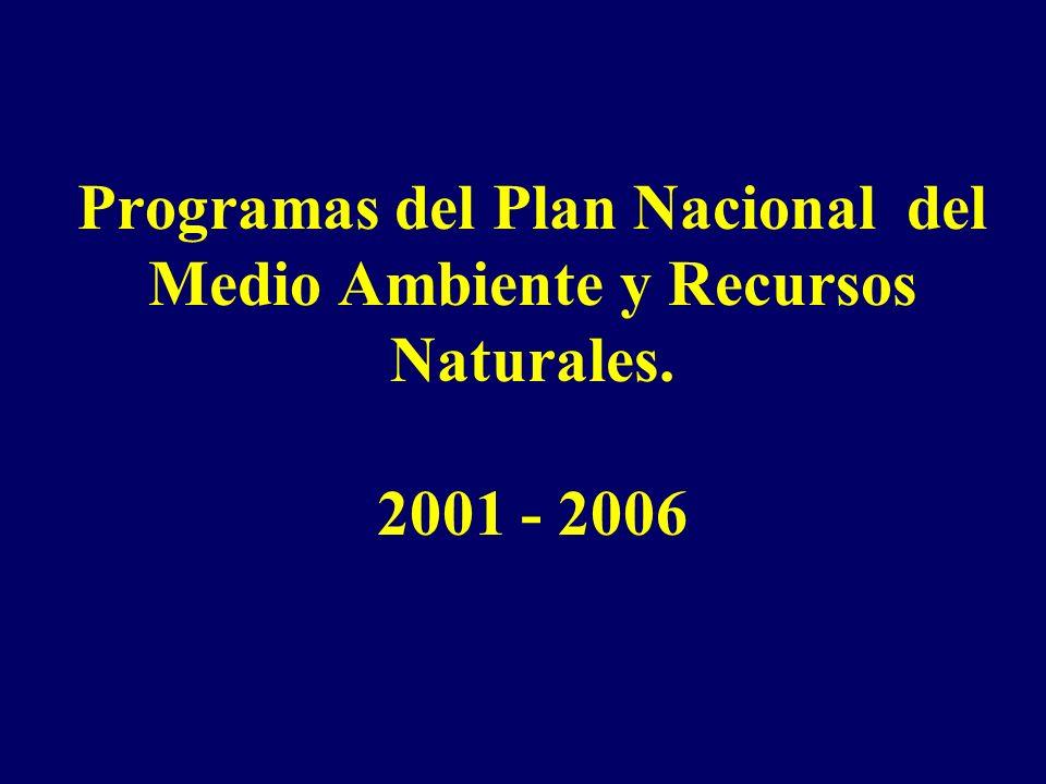 Programas del Plan Nacional del Medio Ambiente y Recursos Naturales
