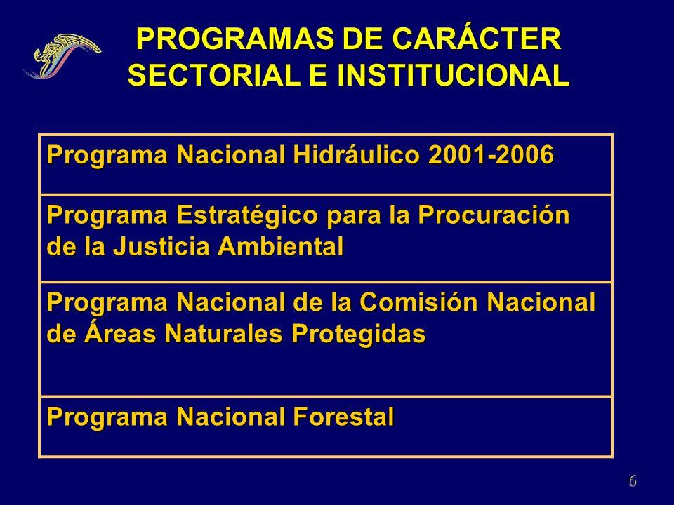 PROGRAMAS DE CARÁCTER SECTORIAL E INSTITUCIONAL