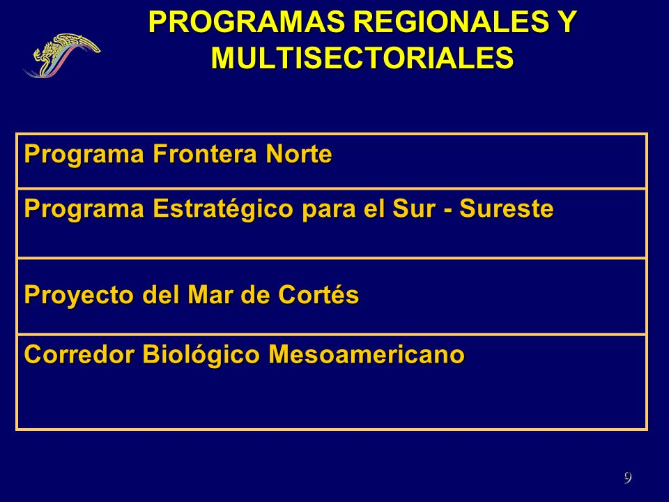 PROGRAMAS REGIONALES Y MULTISECTORIALES