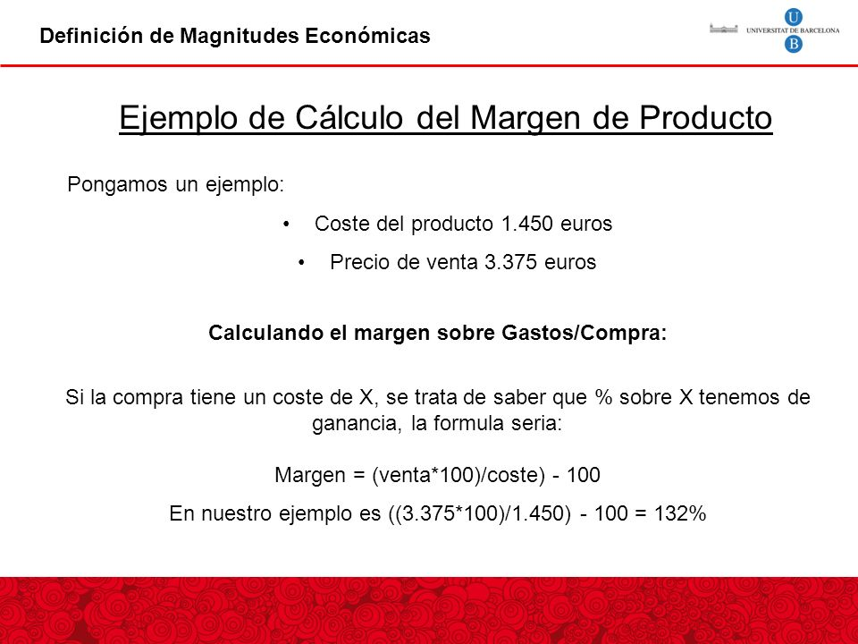 Calculando el margen sobre Gastos/Compra: