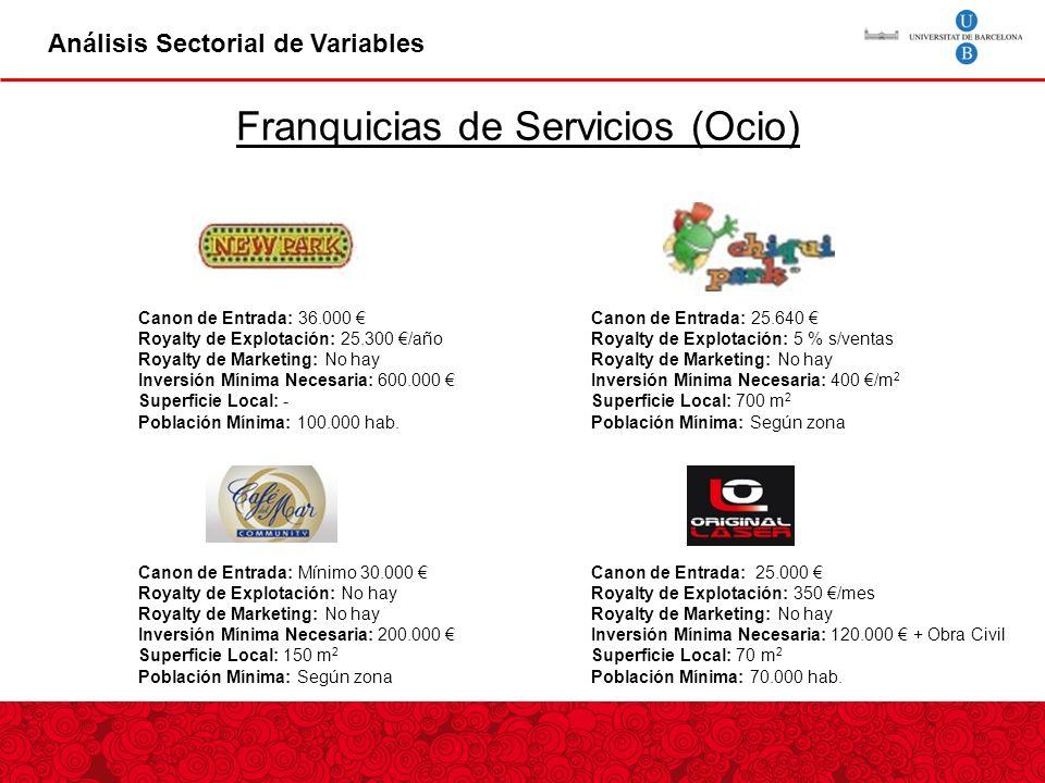 Franquicias de Servicios (Ocio)