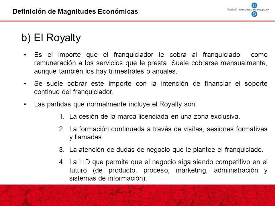 b) El Royalty Definición de Magnitudes Económicas