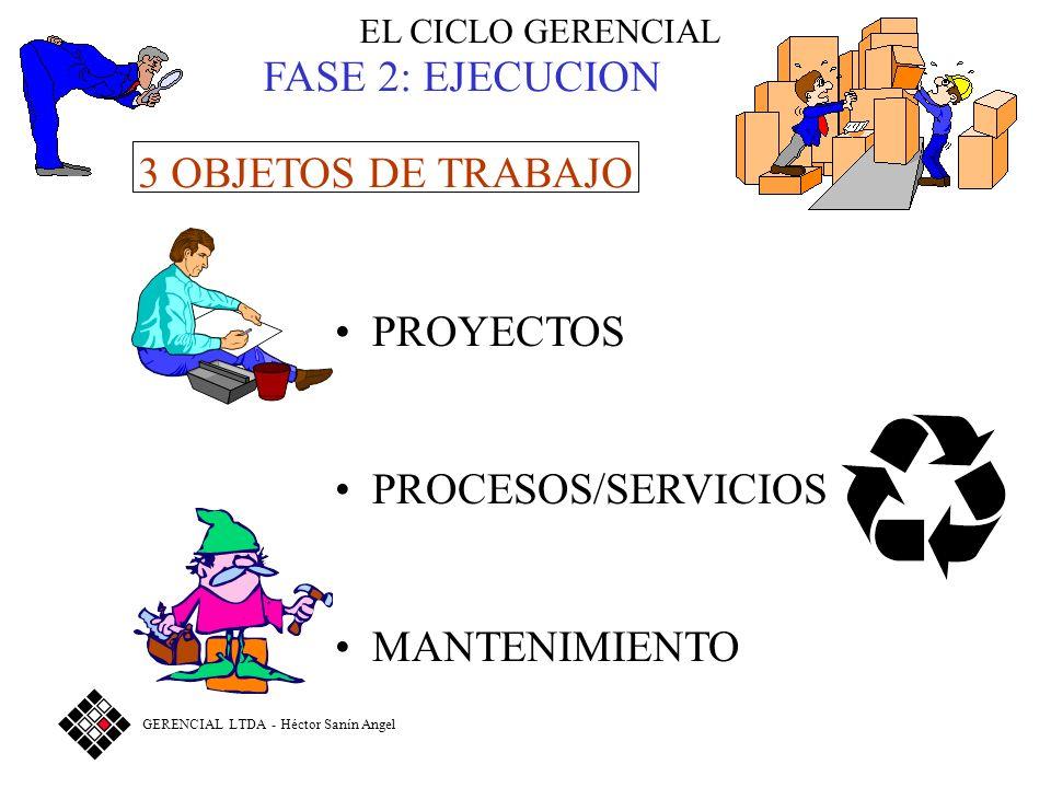 FASE 2: EJECUCION 3 OBJETOS DE TRABAJO PROYECTOS PROCESOS/SERVICIOS