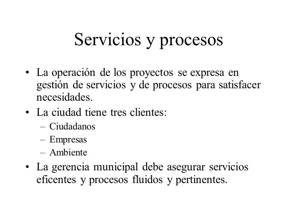 Servicios y procesos La operación de los proyectos se expresa en gestión de servicios y de procesos para satisfacer necesidades.