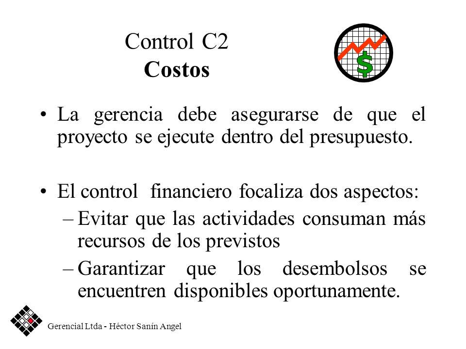 Control C2 Costos La gerencia debe asegurarse de que el proyecto se ejecute dentro del presupuesto.