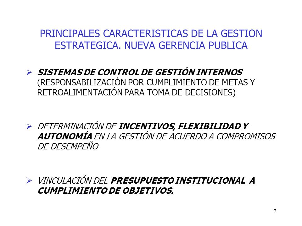 PRINCIPALES CARACTERISTICAS DE LA GESTION ESTRATEGICA