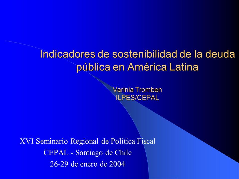 Indicadores de sostenibilidad de la deuda pública en América Latina Varinia Tromben ILPES/CEPAL