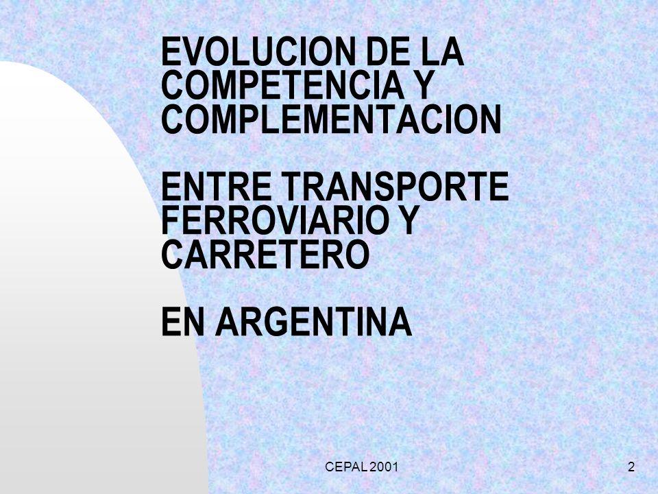 EVOLUCION DE LA COMPETENCIA Y COMPLEMENTACION ENTRE TRANSPORTE FERROVIARIO Y CARRETERO EN ARGENTINA