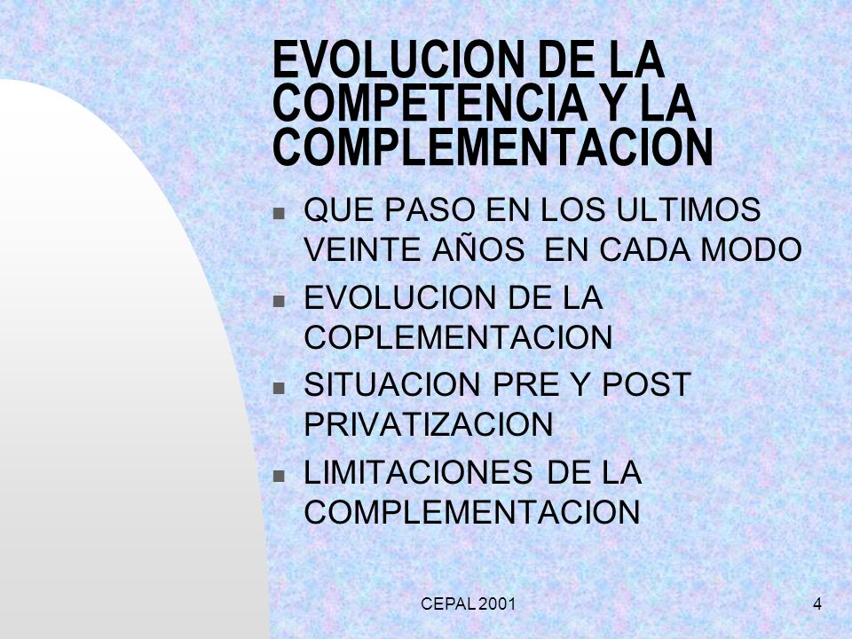 EVOLUCION DE LA COMPETENCIA Y LA COMPLEMENTACION