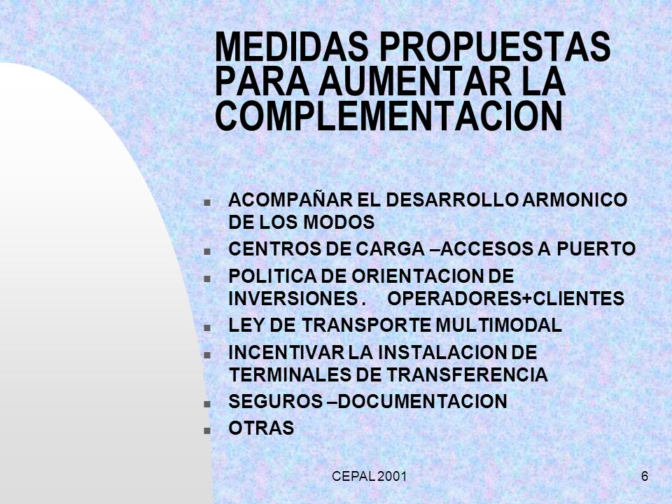 MEDIDAS PROPUESTAS PARA AUMENTAR LA COMPLEMENTACION