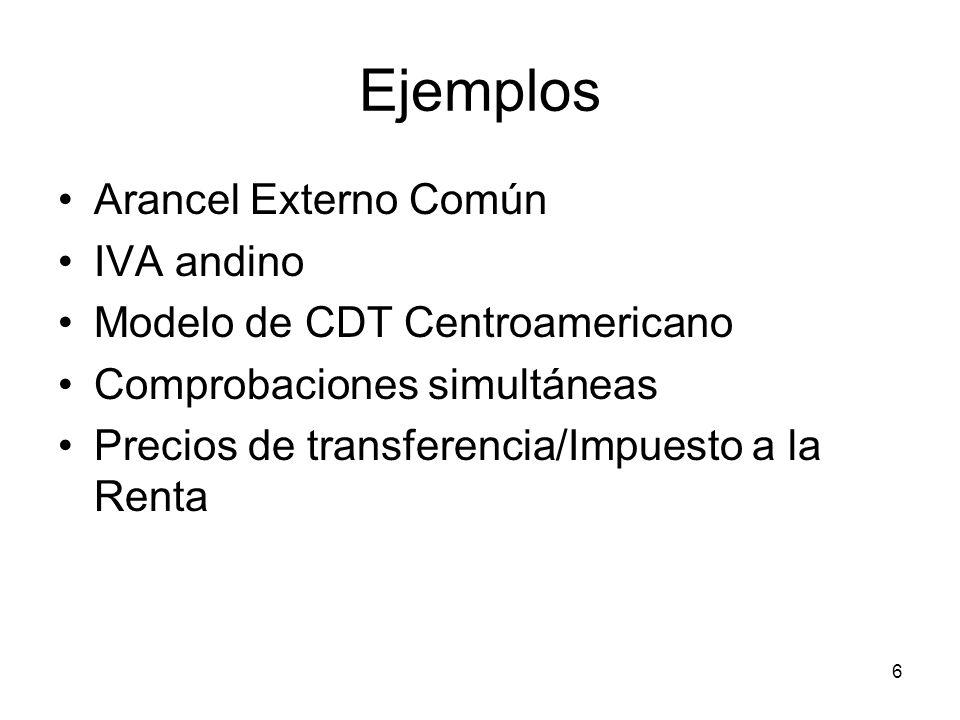 Ejemplos Arancel Externo Común IVA andino