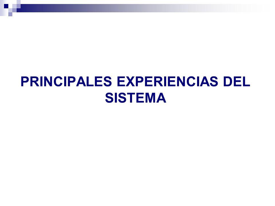 PRINCIPALES EXPERIENCIAS DEL SISTEMA