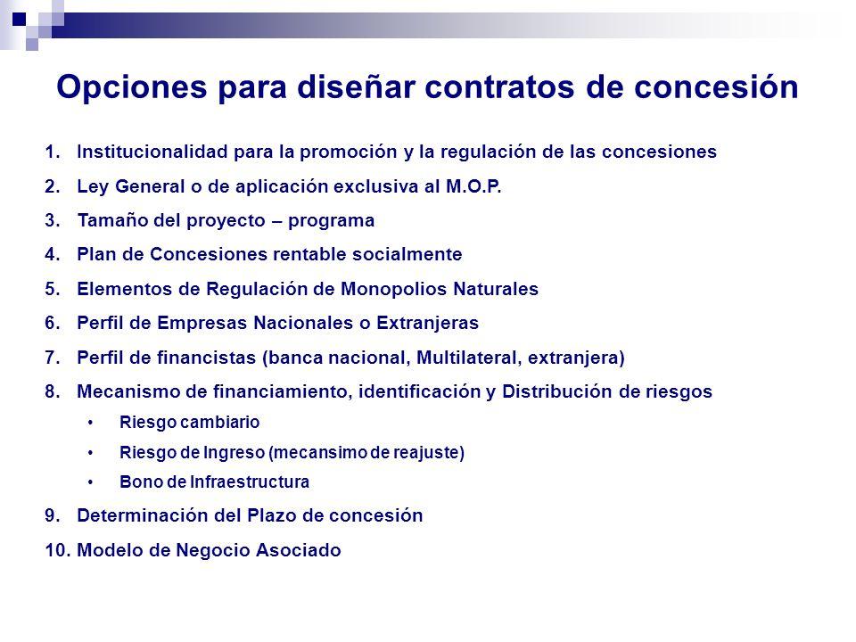 Opciones para diseñar contratos de concesión