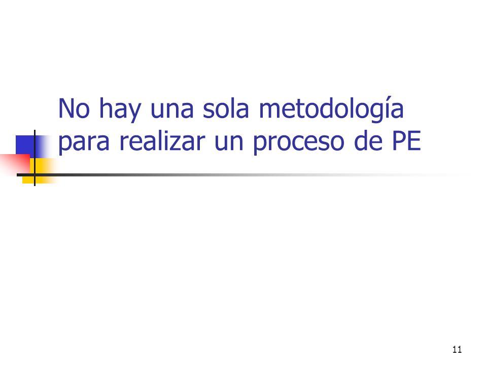 No hay una sola metodología para realizar un proceso de PE