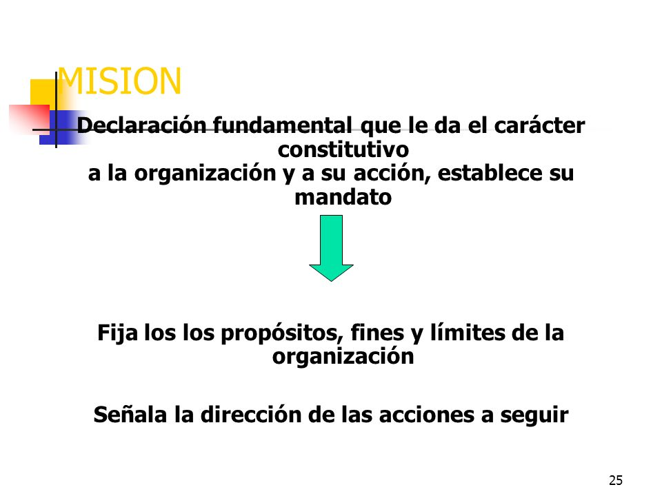 MISION Declaración fundamental que le da el carácter constitutivo