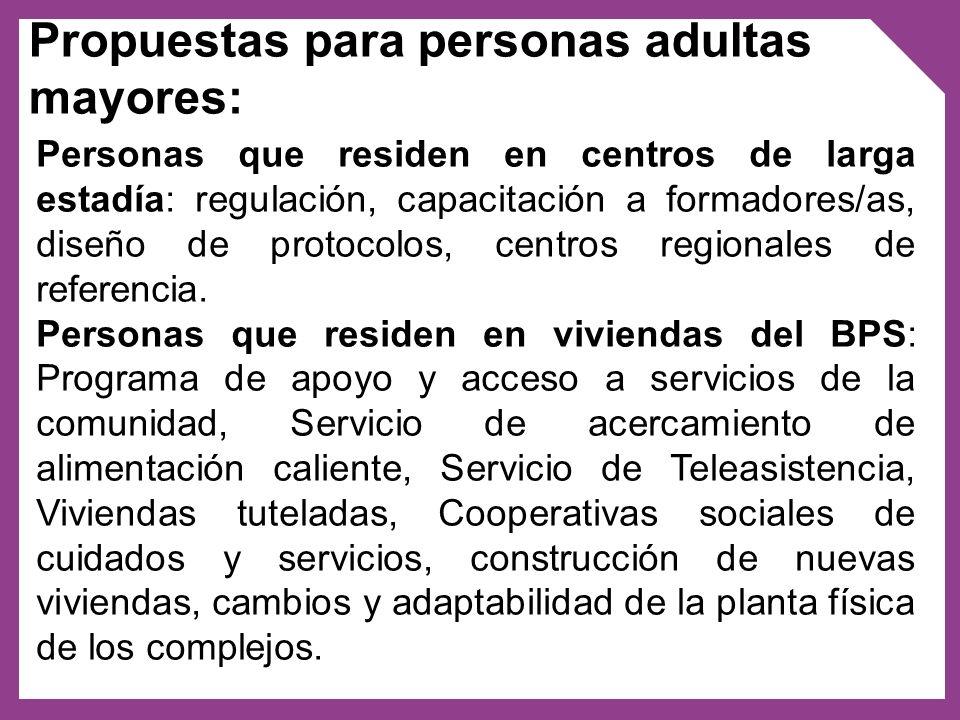 Propuestas para personas adultas mayores: