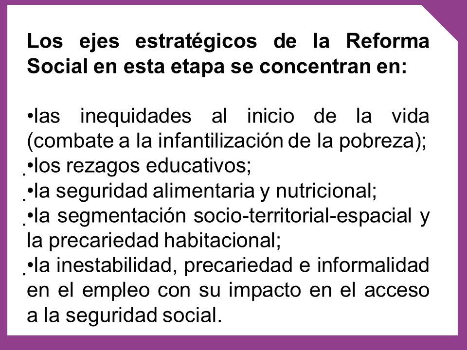 Los ejes estratégicos de la Reforma Social en esta etapa se concentran en: