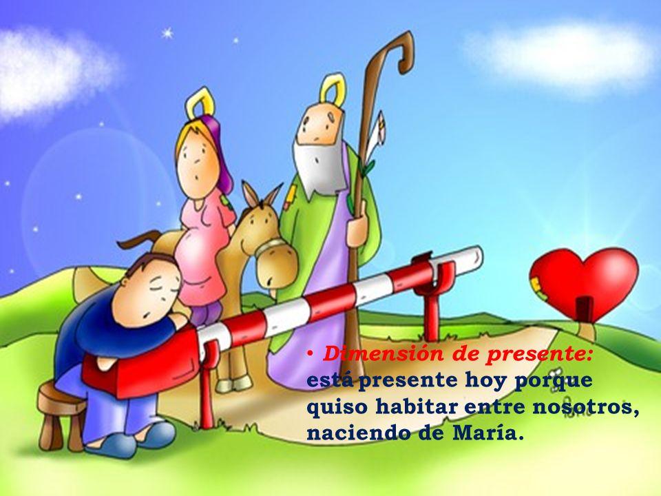 Dimensión de presente: está presente hoy porque quiso habitar entre nosotros, naciendo de María.