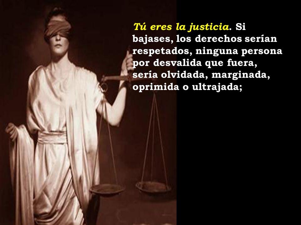 Tú eres la justicia. Si bajases, los derechos serían respetados, ninguna persona por desvalida que fuera, sería olvidada, marginada, oprimida o ultrajada;