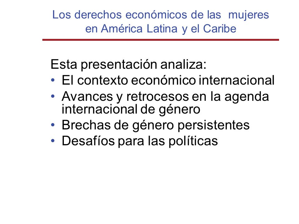 Los derechos económicos de las mujeres en América Latina y el Caribe