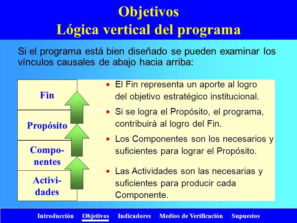 Objetivos Lógica vertical del programa
