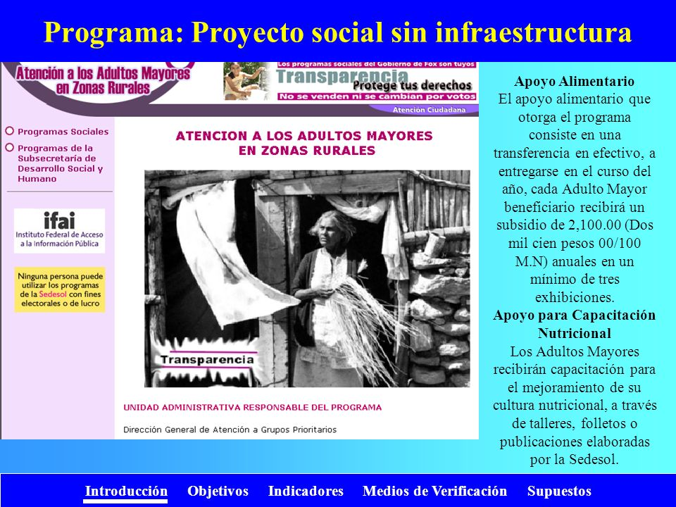 Programa: Proyecto social sin infraestructura
