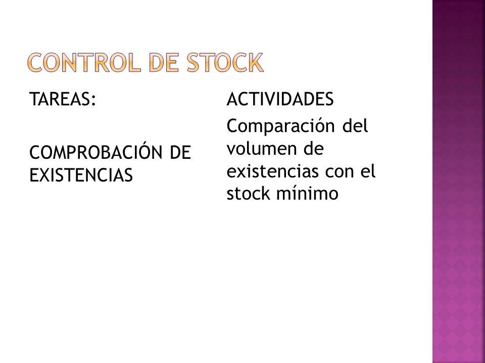 Control de stock TAREAS: COMPROBACIÓN DE EXISTENCIAS
