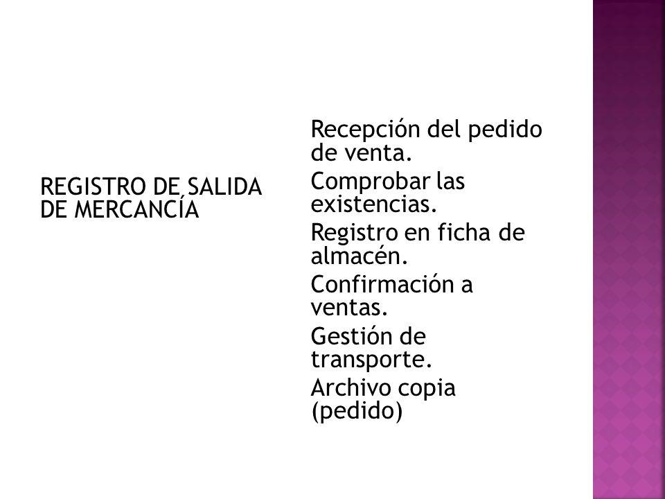 REGISTRO DE SALIDA DE MERCANCÍA