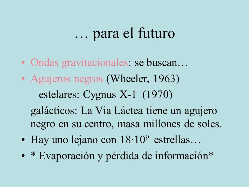 … para el futuro Ondas gravitacionales: se buscan…