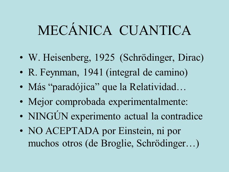 MECÁNICA CUANTICA W. Heisenberg, 1925 (Schrödinger, Dirac)