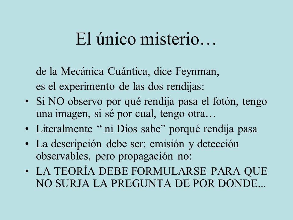 El único misterio… de la Mecánica Cuántica, dice Feynman,