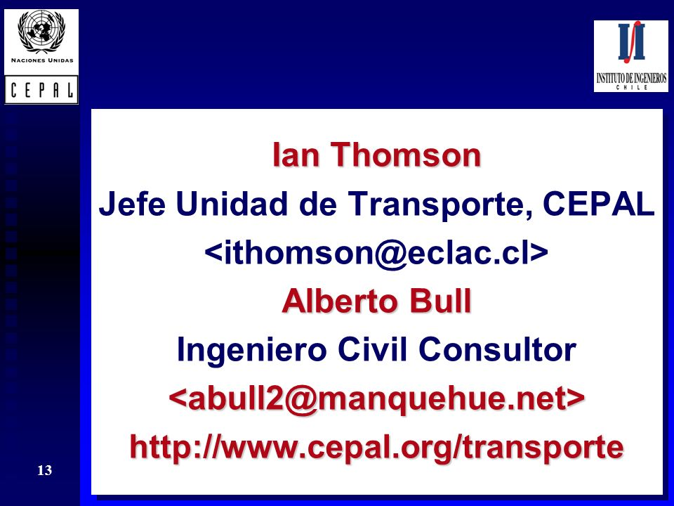 Jefe Unidad de Transporte, CEPAL <ithomson@eclac.cl>
