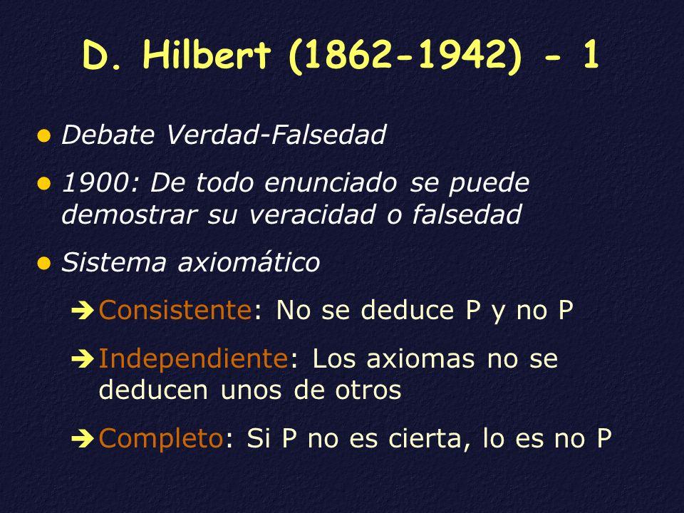 D. Hilbert (1862-1942) - 1 Debate Verdad-Falsedad