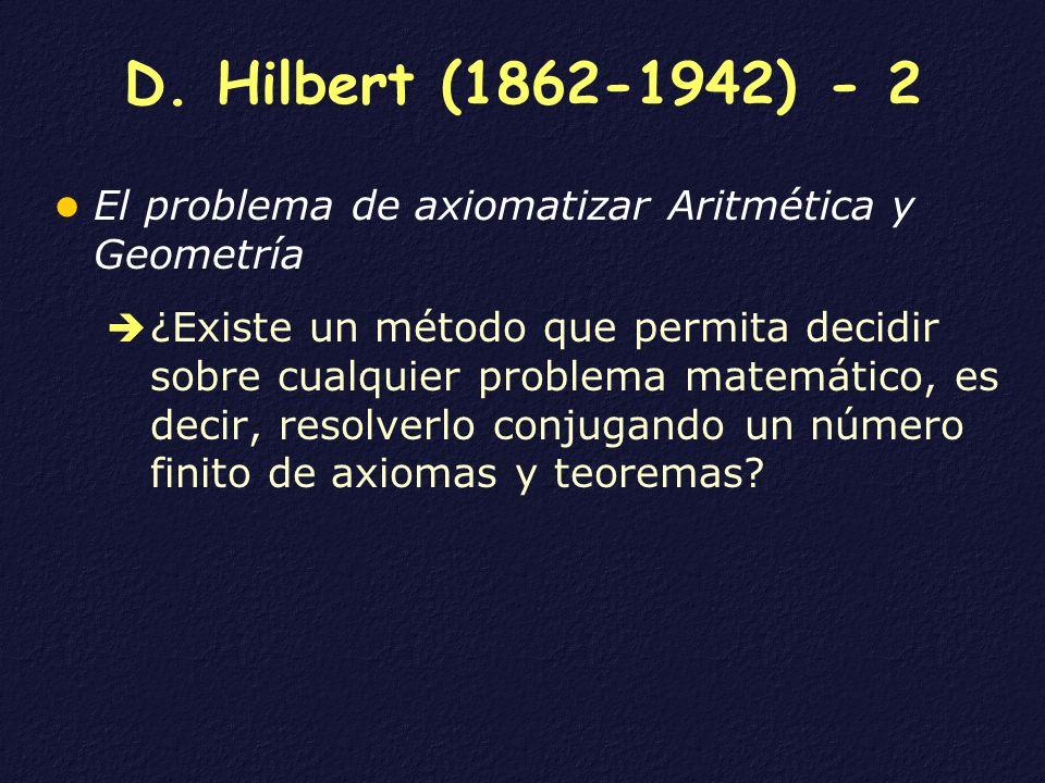 D. Hilbert (1862-1942) - 2 El problema de axiomatizar Aritmética y Geometría.