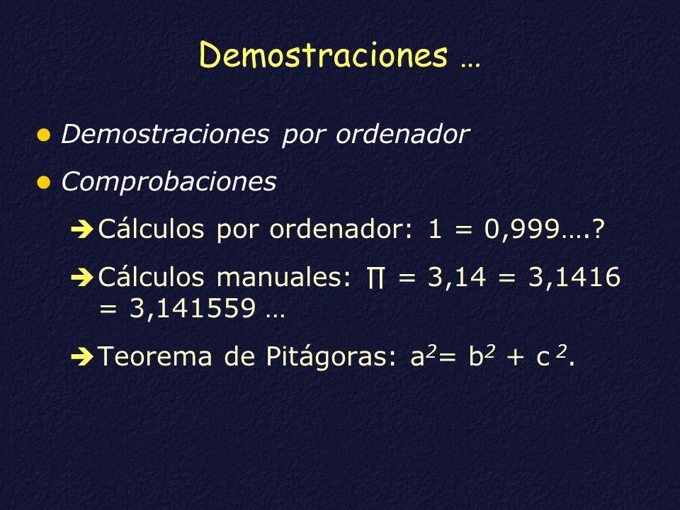 Demostraciones … Demostraciones por ordenador Comprobaciones