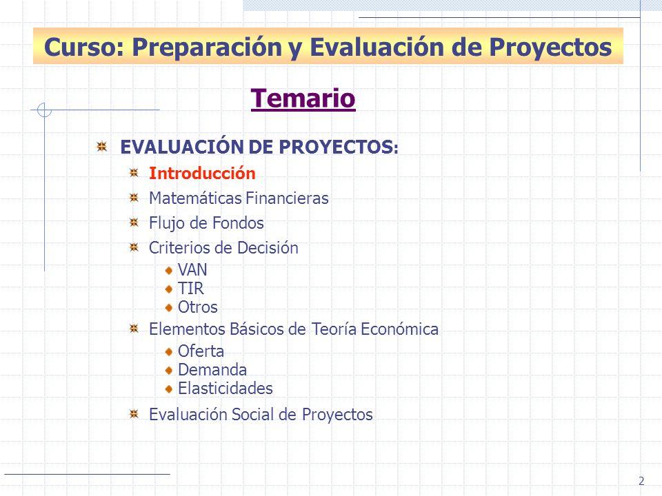 Curso: Preparación y Evaluación de Proyectos