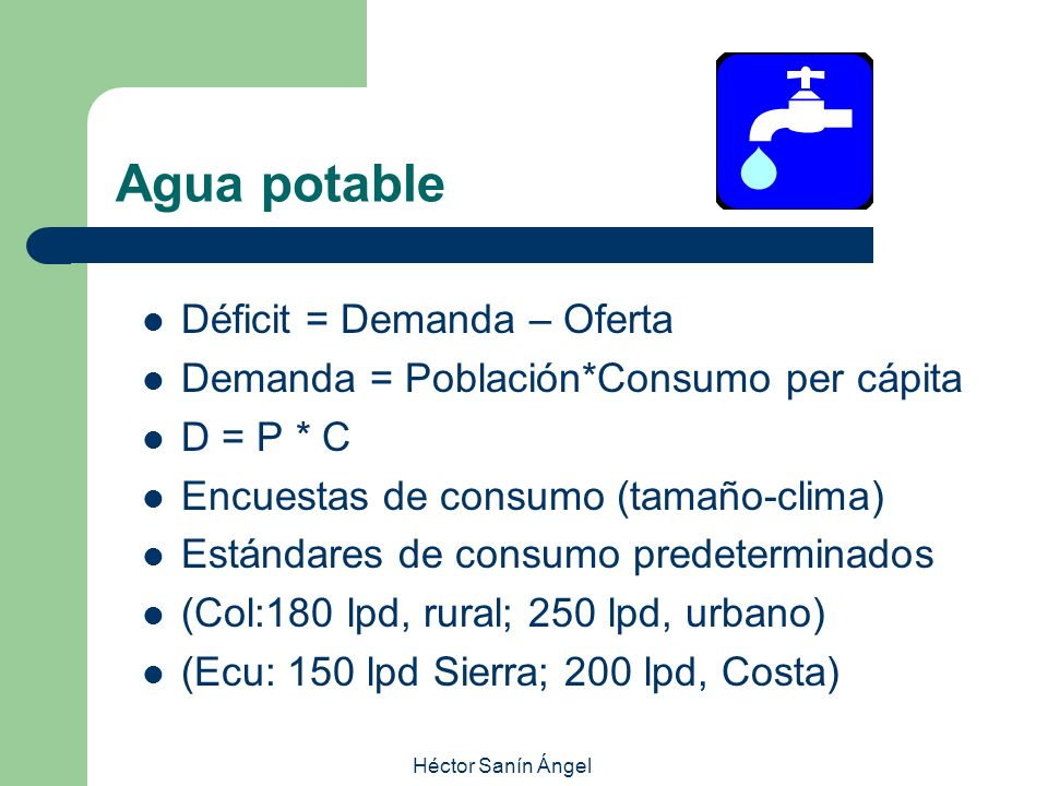 Agua potable Déficit = Demanda – Oferta