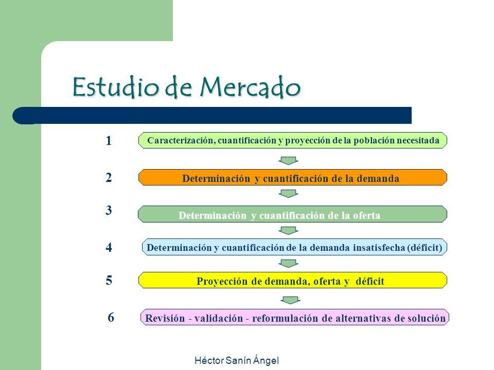 Estudio de Mercado 1. Caracterización, cuantificación y proyección de la población necesitada. 2.