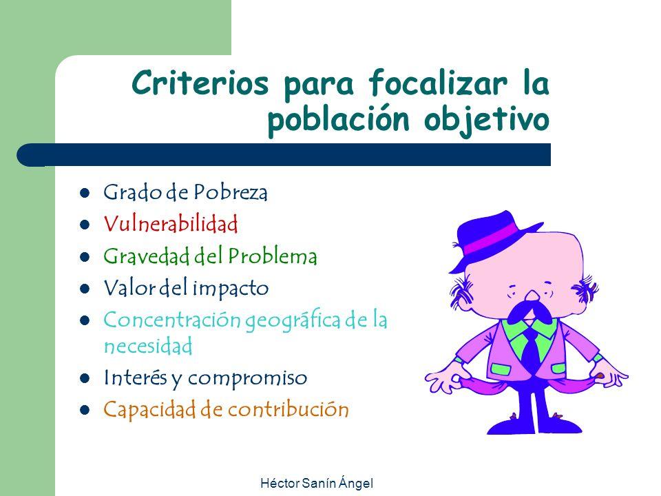 Criterios para focalizar la población objetivo