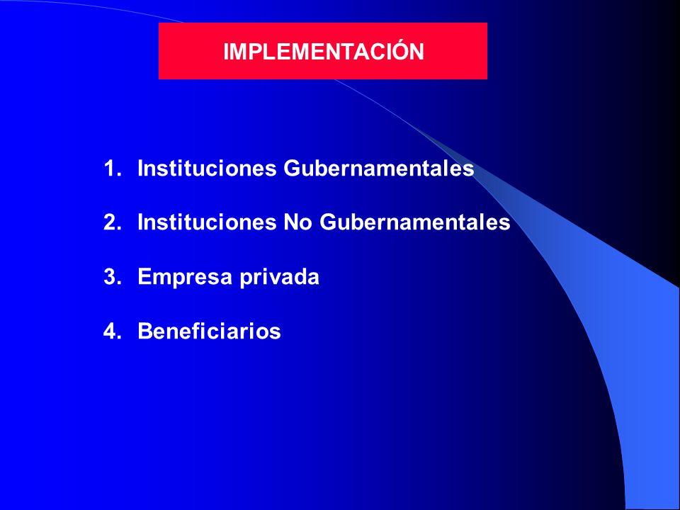 IMPLEMENTACIÓN Instituciones Gubernamentales. Instituciones No Gubernamentales.