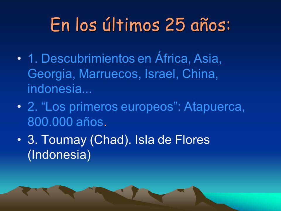 En los últimos 25 años: 1. Descubrimientos en África, Asia, Georgia, Marruecos, Israel, China, indonesia...
