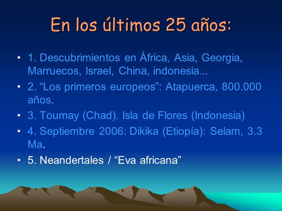 En los últimos 25 años:1. Descubrimientos en África, Asia, Georgia, Marruecos, Israel, China, indonesia...