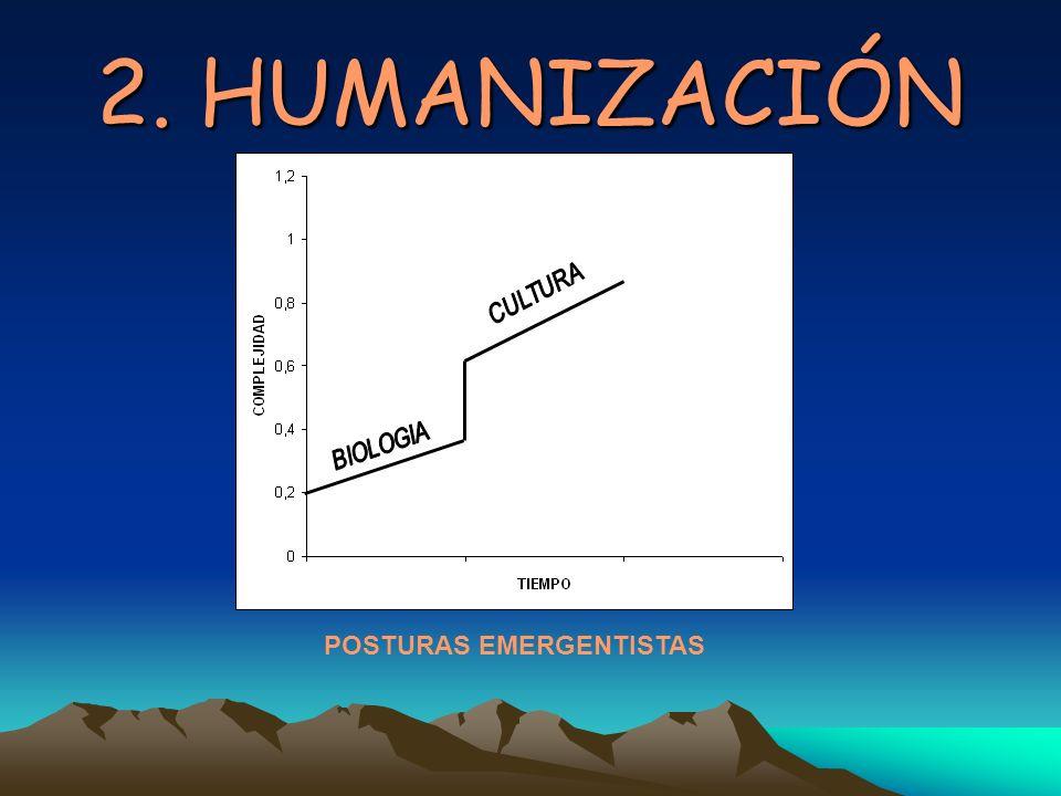 2. HUMANIZACIÓN CULTURA BIOLOGIA POSTURAS EMERGENTISTAS