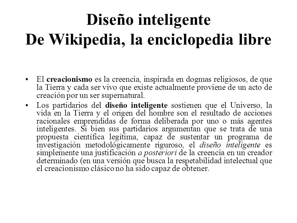 Diseño inteligente De Wikipedia, la enciclopedia libre